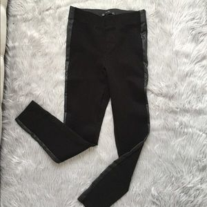 ZARA LEGGINS WITH FAUX LEATHER SIDE STRIPE HIGH W